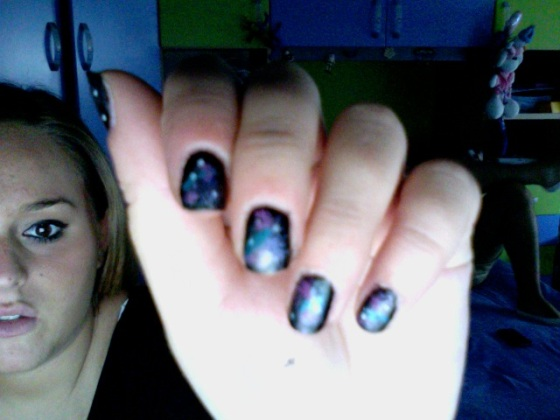 Galaxy print nail art! i try it! how do you find it?=)